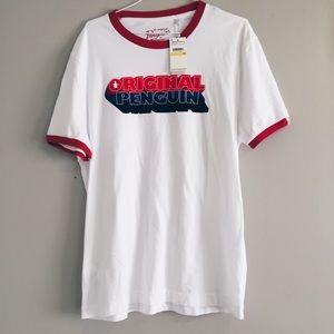 NWT Munsingwear Penguin white & red ringer t shirt